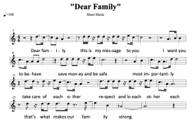 "Musical score of ""Dear Family"""