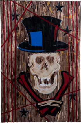 Skeleton with tophat mask acrylic painting on canvas