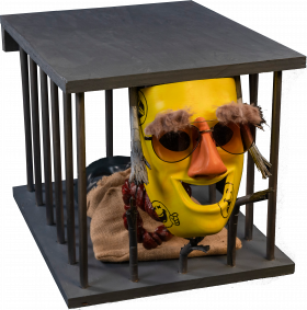 Mixed Media artwork of man in cage