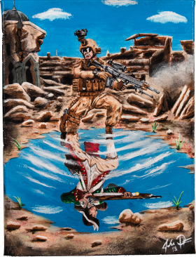 Acrylic on canvas of soldier with gun reflected in water