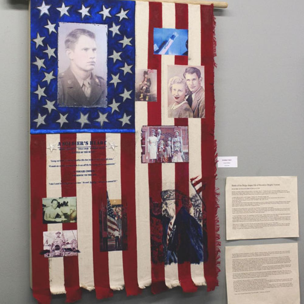 Collage of photos on an American flag