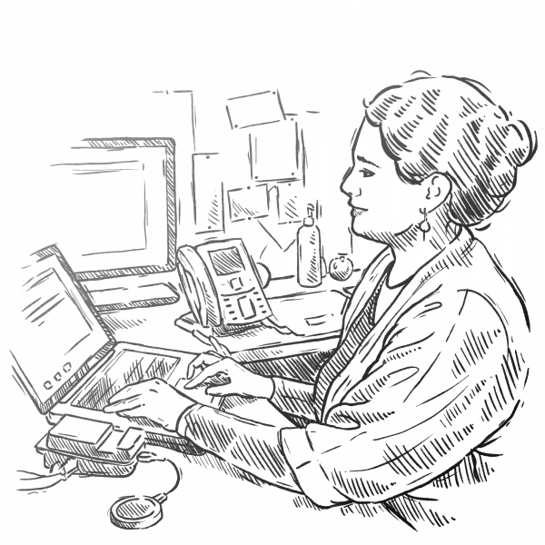 Drawing of woman researcher at office computer